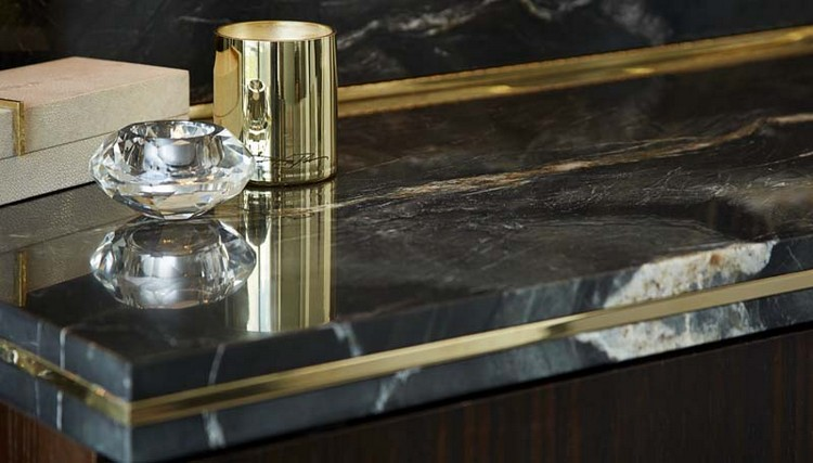 Interior Design Styles - black marble and gold details for a console table home inspiration ideas